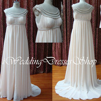 A Line Straps Scoop Neck  Ivory Court Train Chiffon Wedding Dresses, Bridal Gown