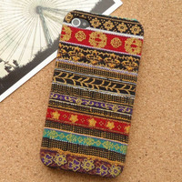 Handmade Tribal Stripe Pattern Fabric Phone Case For iPhone 5
