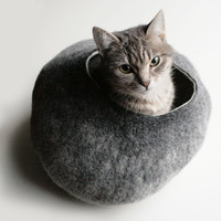 Warm Gray Stone Hand Felted Wool Cat Bed / Vessel by vaivanat