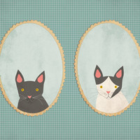 Custom pet couple portrait, custom pet illustration. whimsical pet portraits. Framed Print.