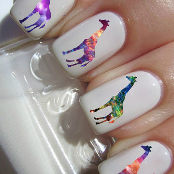 Galaxy Giraffe Nail Decals by PineGalaxy on Etsy