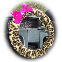 Brown Leopard animal print faux furry fur fluffy fuzzy car Steering wheel cover with Hot Pink Bow