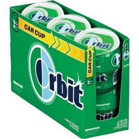 Orbit GUM SPEARMINT Artificial Flavored Sugarfree Gum CAR CUP - 6 Mini Bottles 32 Pieces (192 Pieces Total): Amazon.com: Grocery & Gourmet Food