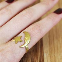 Vintage Golden Brass Moon & Star Wrap Ring from dixi