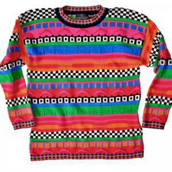 Bright 80s Tacky Ugly Cosby Sweater for Girls Women's Size Small/Medium (S/M)