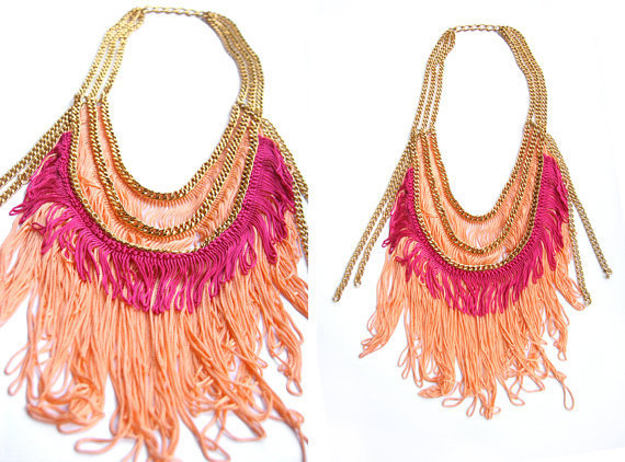 Summer Peach fringe necklace by lazysundaysshop on Etsy