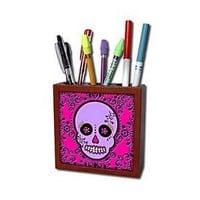 Janna Salak Designs Day of the Dead - Day of the Dead Skull Da de los Muertos Sugar Skull Purple Pink Black Scroll Design - Tile Pen Holders-5 inch tile pen holder