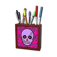 Janna Salak Designs Day of the Dead - Day of the Dead Skull Día de los Muertos Sugar Skull Purple Pink Black Scroll Design - Tile Pen Holders-5 inch tile pen holder