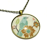 Blue Bird Pendant, Bluebird Necklace, Antique Brass Necklace, Women's Jewelry, Glass Cabochon
