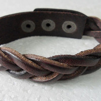 Chocolate Leather Woven Metal Buckle Adjustable by braceletcool