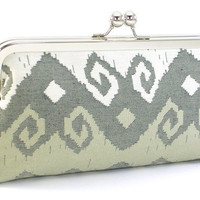 Ikat Clutch Handbag  White and Taupe by BagBoy on Etsy