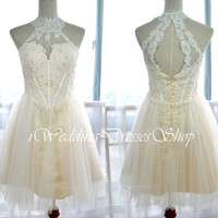 A Line Mini Short High Neck Ivory and Champagne Lace and Tulle Prom Dresses, Homecoming Dresses, Evening Gown, Formal Gown
