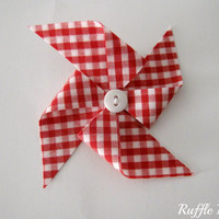 "Pinwheel hair clip set, 3"" bows in red and white gingham fabric, white button centers, set of two bows for piggy-tails"