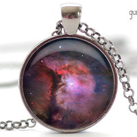 Nebula Necklace, Space Galaxy Art Pendant,  Nebula Jewelry, Universe Stars Gift for Him or for Her (308)