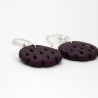 purple tribal earrings aubergine polymer clay earrings by BeaKez