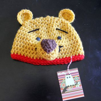 Crochet Pooh Bear Hat Pattern : Winnie the Pooh Bear Hat ALL sizes from from artfire.com