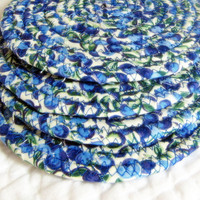 Blueberry Coaster Set of 4 Fabric Coiled by NewEnglandQuilter
