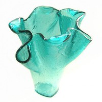 Aqua Turquoise Blue Art Glass Sculptural Vase Uneek Glass Fusions | UneekGlassFusions - Glass on ArtFire