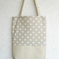 Leather and polka dots cotton Tote Bag Leather handles Straps Light Grey
