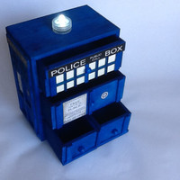 Unique  3D TARDIS Jewelry Box, Handmade TARDIS Jewelry Box, Doctor Who Jewelry Box, Pop Art TARDIS Jewelry Box