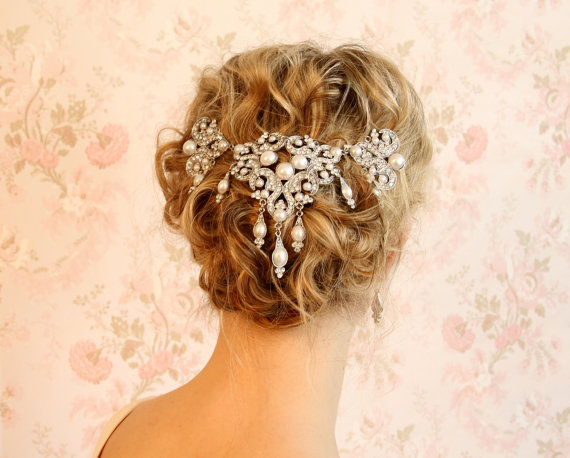Crystal Veil Wedding Hair Accessories From EMbridal On Etsy | I