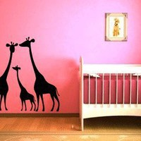 Giraffe Family Vinyl Wall Decal Sticker Graphic By LKS Trading Post:Amazon:Baby
