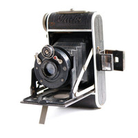 Antique Black Welta Gucki Camera - 1930s Art Deco Vintage Accordion German Camera / Small Folding Photography
