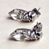 Iosselliani Silver w/ Clear Crystal Skull Earrings