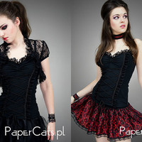 Black top lace blouse corset goth pin up spooky