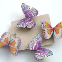 Tiny Wooden Butterflies Decorative Paper Clips Mini Clothes Pins Orange Purple and Blue Set of 4