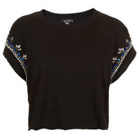 Embellished Crop Tee - Tops  - Clothing