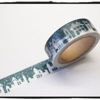 Washi tape - Winter Skyline Town View 15mm Wide - 11 yards  WT413
