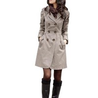 Amazon.com: Allegra K Lady Double Breasted Slant Pockets Self Tie Strap Front Casual Trench Coat Gray S: Clothing