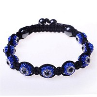 Blue White Crystal Ball Black Cord Evil Eye Adjustable Macrame Unisex Bracelet