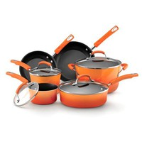 Rachael Ray Porcelain Enamel II Nonstick Cookware Set, 10-Piece, Orange