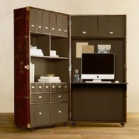 Mayfair Steamer Secretary Trunk Vintage Cigar Leather | Desks | Restoration Hardware