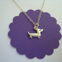 Tiny Dachshund Dog Pendant  Sterling Silver Child Teens Dog lovers Pet  Necklace mom  for her spring