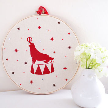 "Circus Seal with a Ball 9"" Embroidery Hoop Wall Art"
