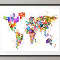Typography Map of the World Map Paint Splashes, Art Print 18x24 inch (747)