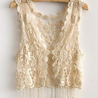 Knitted Floral Tassel Trim Vest with Cut Out Detail from OASAP-USA