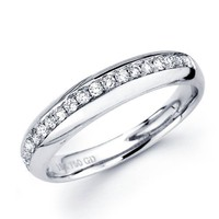 Diamond Wedding Band 18k White Gold Anniversary Ring Round (1/5 Carat)