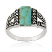 Sterling Silver Marcasite and Synthetic Turquoise Band Ring, Size 6