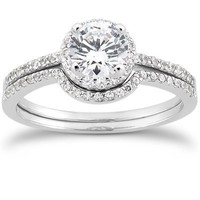 Genuine .80CT Round Diamond Pave Halo Thin Petite Engagement Wedding Ring Set