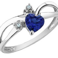Amazon.com: Created Sapphire Heart Ring with Diamonds 1/2 Carat (ctw) in 10K White Gold: Jewelry