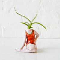 Vintage Summer Pinup Plant Girl - Antique German Bisque Doll Air Plant Planter