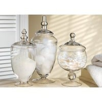 TERRA COLLECTION SET OF THREE ASSORTED GLASS CANNISTERS