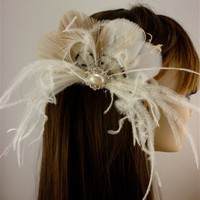 Bridal Feather Fascinator, Bridal Fascinator, Feather Fascinator, F...... | couturedesignsbyicegreeneyes - Wedding on ArtFire