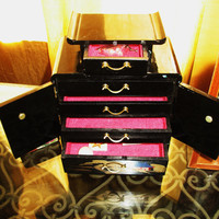 Amaizing Vintage JEWELRY BOX Pagoda W 2 Doors and 5 Draws Black Lacquer W Golden Accent and Mop