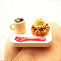 Cute Coffee Ring Waffle Ice Cream Miniature Food Ring