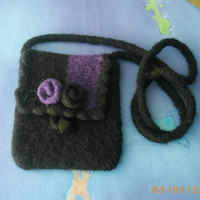 Black and purple small felted wool purse handbag